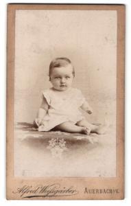 Fotografie Alfred Weissgärber, Auerbach i. V., Portrait niedliches blondes Mädchen im weissen Kleidchen