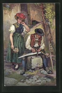 AK Schwarzwälder Bauernpaar in Tracht