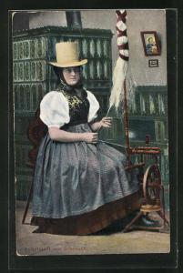 AK Frau in Volkstracht von Schonach