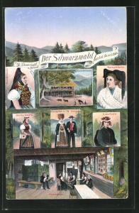 AK Schwarzwälderinnen in Tracht, Neustädterin, Markgräflerin, Gutacherin