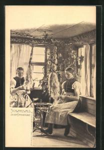 AK Mädchen in Schwarzwälder Tracht am Spinnrad
