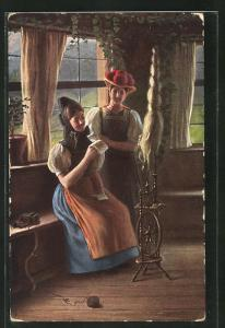 AK Mädchen in Schwarzwälder Tracht vor einem Spinnrad