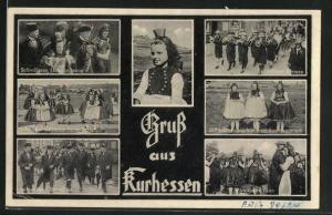 AK Schwälmer Hochzeitszug, Kinder beim Tanz, Schwälmer Buschen und Kirmes