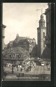 AK Frankfurt a/M, Hauptwache mit Katharinenkirche, Strassenbahn
