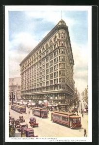 AK San Francisco, CA, Phelan Building, Market Street, Strassenbahn