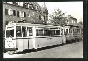 AK Jena, 75 Jahre Strassenbahn, Tw 113 mit Bw 295 an der Endstelle Jena-Ost