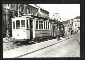 AK Jena, 75 Jahre Strassenbahn, Bw 296 mit Tw 106 an der Haltestelle Holzmarkt
