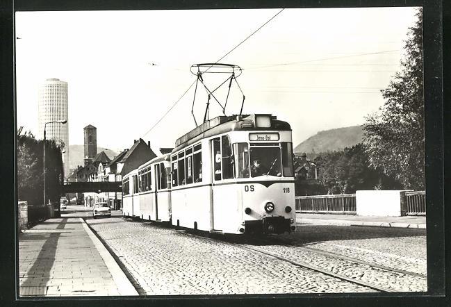 AK Jena, 75 Jahre Strassenbahn, Blick von der Brücke der Deutsch-Sowjetischen Freundschaft zur Innenstadt 0