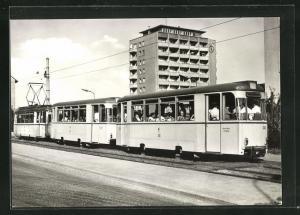 AK Jena, 75 Jahre Strassenbahn, Bw 230 mit Bw 225 und Tw 112 an der Haltestelle Emil-Höllein-Platz