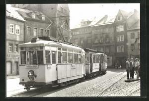 AK Jena, 75 Jahre Strassenbahn, Tw 28 mit Bw 40 und 53 an der Haltestelle Holzmarkt