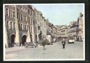 AK Metz, Platz unter den Bogen, Strassenbahn
