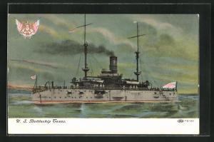 AK Kriegsschiff U. S. Texas vor der Küste