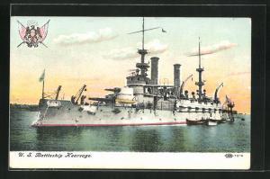 AK Kriegsschiff U. S. Kearsage vor der Küste