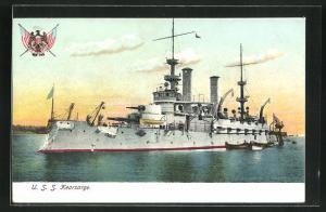 AK Kriegsschiff U. S. S. Kearsarge vor der Küste