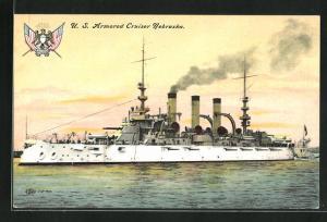 AK Kriegsschiff U. S. Nebraska vor der Küste