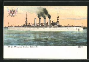AK Kriegsschiff U. S. Colorado vor der Küste
