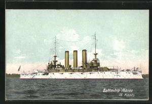 AK Kriegsschiff Maine vor der Küste