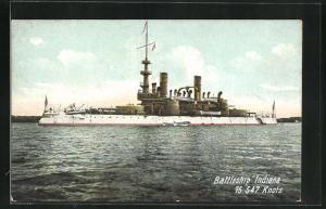 AK Kriegsschiff Indiana vor der Küste
