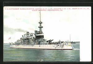 AK Kriegsschiff U. S. Massachusetts vor der Küste