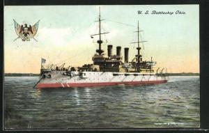 AK Kriegsschiff U. S. Ohio vor der Küste