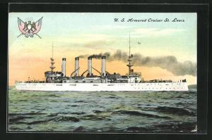 AK Kriegsschiff U. S. St. Louis auf hoher See