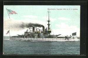 AK Kriegsschiff Massachusetts vor der Küste