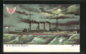 AK Kriegsschiff U. S. Virginia vor der Küste