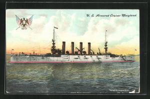 AK Kriegsschiff U. S. Maryland vor der Küste