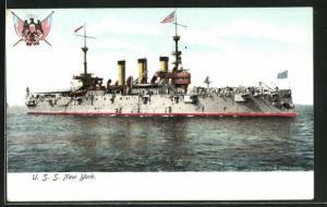 AK Kriegsschiff U. S. S. New York auf hoher See