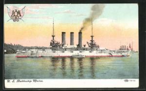 AK Kriegsschiff U. S. Maine vor der Küste