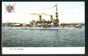 AK Kriegsschiff U. S. Indiana vor der Küste