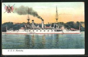 AK Kriegsschiff U. S. S. Kentucky vor der Küste