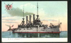 AK Kriegsschiff U. S. S. Missouri vor der Küste