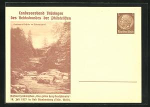AK Bad Blankenburg, Postwertzeichenschau Das grüne Herz Deutschlands 1937, Steinerne Brücke im Schwarzatal, Ganzsache