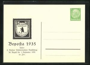 AK Berlin, Beposta 1935, 2. Berliner Postwertzeichen-Ausstellung 1935 im Zoo, Ganzsache