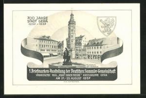 AK Gera, 1. Briefmarken-Ausstellung der Deutschen Sammler-Gemeinschaft 1937, Marktplatz mit Rathaus, Ganzsache