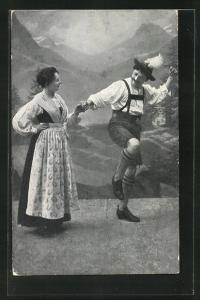 AK Salzburger Almtanz, Paar in Tracht
