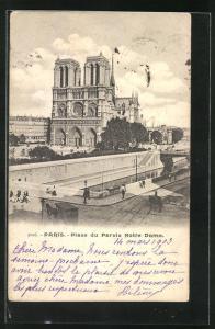 AK Paris, Cathédrale Notre-Dame, Place du Parvis Notre Dame