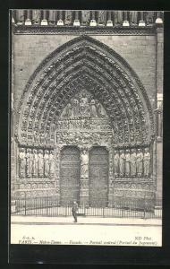 AK Paris, Cathédrale Notre-Dame, Facade, Portail central