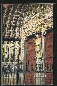 AK Paris, Cathédrale Notre-Dame, Figuren am Portal