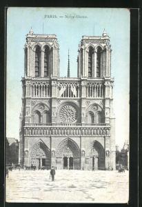 AK Paris, Cathédrale Notre-Dame, Blick zum Hauptportal