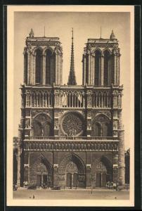 AK Paris, Cathédrale Notre-Dame, La Facade, mit Hauptportal