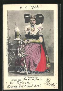 AK Frau an der Spindel in Tracht Schaumburg-Lippe