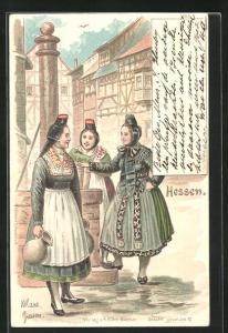 AK Frauen in hessische Tracht