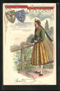 AK Frau in hessische Tracht, Wappen