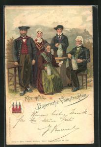 AK Einheimische in bayerische Tracht