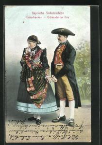AK Paar in bayerische Tracht