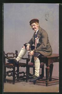 AK Mann in Partenkirchens alter Tracht