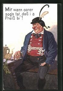 AK dicker Mann in bayerische Tracht