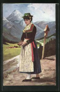 AK Berchtesgaden, Frau in bayerische Tracht